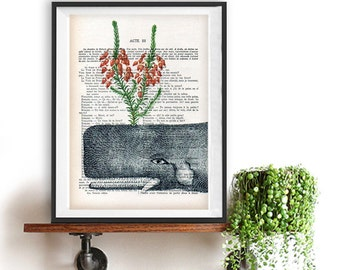 Whale Botanical Flowers Quirky print vintage whale ocean fish French vintage book page whale art print christmas gift poster illustration