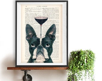 Boston Terrier Print, Bulldog with wine glass, French design, black and white,bulldog poster Art Print on recycled french book page