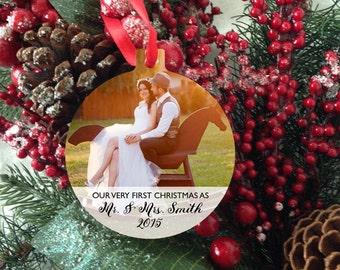 Ornament - Photo Ornament - Wedding Christmas Ornament - Mr. & Mrs. Christmas Ornament - Family Ornament - 1st Ornament - Stocking Stuffer