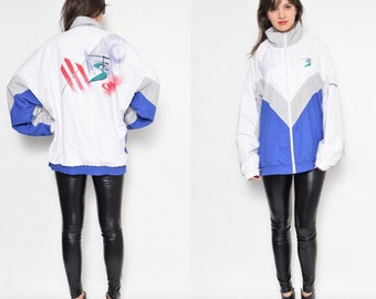 Vintage 80's Adidas Abstract Print Jacket / Adidas Zipper Jumper Jacket / Blue White Adidas Jacket - Size Large