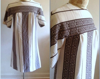 1960s Brown Striped Shift Dress Vintage // medium, large 10 12 mod Twiggy stripe sixties white tribal