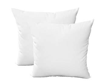 """SET OF 2 - 20"""" Sunbrella Canvas White Feather and Down Decorative Throw Pillows"""