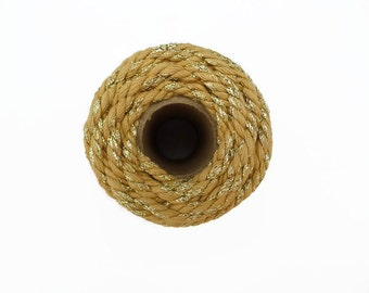 Sparkle Chunky Baker's Twine 20m - Natural Thick Twine with Gold Glitter - 4mm Diameter