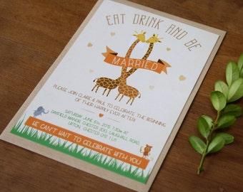 Zoo Themed Wedding Invitation