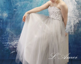 Custom L'Amei Light Grey Tulle Wedding Dress with Lace Top - AM2345920