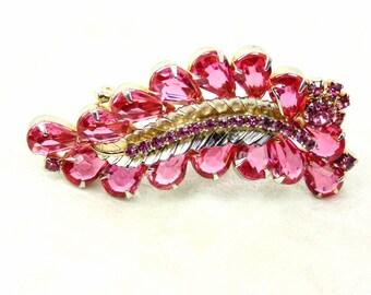 Glass Crystal Pink Fern Rhinestone Brooch Vintage