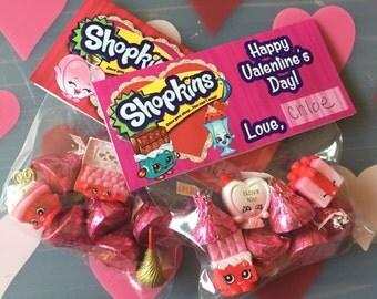 INSTANT DOWNLOAD Shopkins Printable Valentine's Day Bag Topper