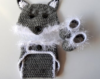 Baby Wolf Hat and Diaper Cover Set with Booties, Baby Booties, Crochet Wolf Beanie, Wolf Costumer, Newborn Photography, Infant Photo Prop