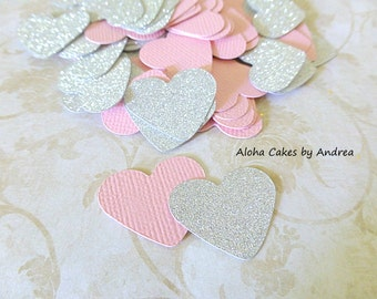 Heart Confetti, Pink and Glitter Silver, Sparkly, Girl Baby Shower, Wedding Decor, Bridal Shower, 1st Birthday Ideas, 1 inch, Set of 150
