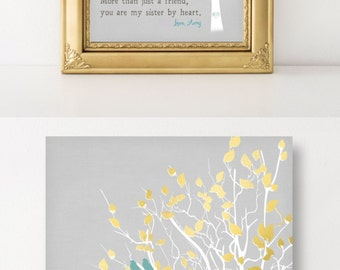 Personalized Gift Best Friend Sisters by Heart Art Print Tree Birds Faux Gold Turquoise Unique Sign Wall Art Gift Friend Birthday Gift