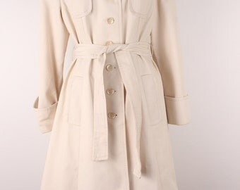 Vintage 1970s off-white Spring coat size S canvas