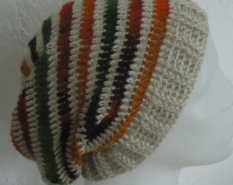 Crochet beige slouchy beanie , striped  crochet slouchy beani,crochetted bohemian slouchy beanie ,  striped boho style crochet slouchy hat