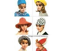 1960s McCalls 8254 MOD HAT PATTERN Millinery Hat Cap Beanie Hat Sailor Hat Floppy Wide Brim Summer Hat Helmet Vintage Womens Sewing Patterns