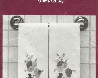 """Applique Guest Towels / Decorative Pastel Floral  / Set of 2 White Cotton Towels / Brand New / 14  x  22"""""""