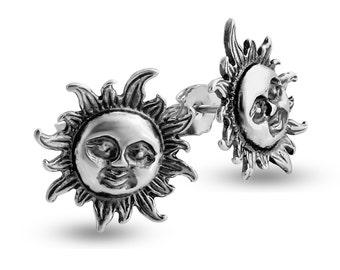 Smiling Sun Flare Stud Earrings #925 Sterling Silver #Azaggi E0393S