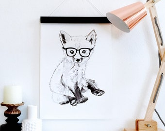 Fox Woodland Nursery Print, Scandinavian Art Watercolour, Paper A5 A4 A3 Nursery, Children, Baby Shower, Kids, Playroom, Monochrome Decor