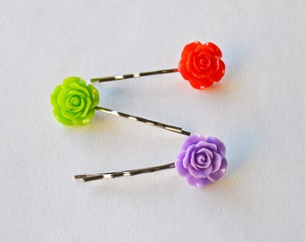 SALE - Set of 3 Assorted Color Rose Flower Resin Bobby Pin - Cute Hair Clip - Hair Pins - Color Hair Clips - Bobby Hair Pins Set