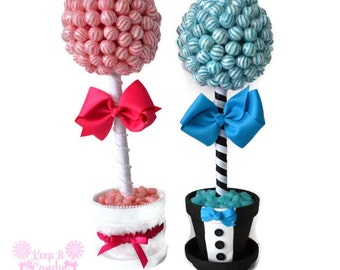Bride and Groom Topiaries, Lollipop Wedding Centerpieces, Wedding Candy Buffet Decoration, Bride Candy, Groom Candy, Candy Table Decor