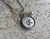 Personalized Initial silver stamped necklace, pearl, stocking stuffer, gift for sister, daughter, teen, niece, Love Squared Designs