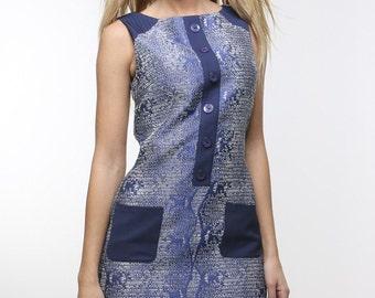 Blue Textured Cotton 60's Dress.