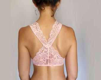 Peachy Pink Blue Lace Bralette. Bridal Lingerie, Scalloped Lace Back. Racer Back Wireless Bra. Lingerie. Soft Bra. Bralet
