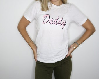 Daddy white crew neck short sleeve tshirt