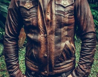 Mens Alloy leather jacket- handmade| festival wear| biker jacket| brown| motorcycle jacket| biker jacket| mad max| burning man