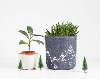 "Denim Basket, Blue denim storage, Fabric container, Fabric planter, Screen printed ""Mountains"" design"