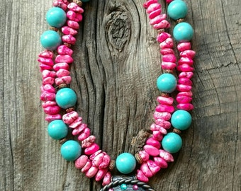 Chunky Western Glam- Bright Pink and Howlite Turquoise Necklace with Bronze Crystal Spacers and Rhinestones