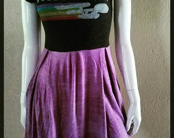 Star Trek Purple Pleated Pocket T-Shirt Dress