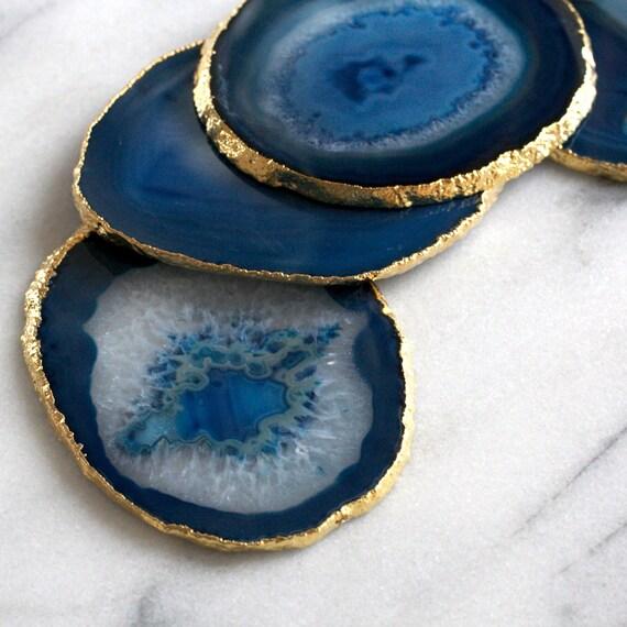 Teal Agate Coasters Blue Agate Coasters Gemstone Coasters