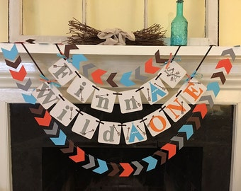 Wild ONE Birthday Decoration Aztec Tribal Birthday Name Banner 1st Birthday Teepee Birthday Arrows Baby Shower Pow Wow Custom Name Colors