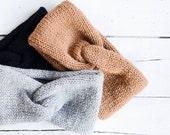 Hand Knit Turban, Chunky Knit Turban, Wool Headwrap, Winter Headband, Warm Womens Turband, Custom Color Turban
