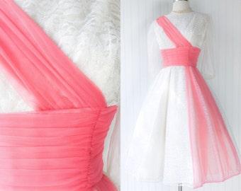 sheer white lace & salmon pink chiffon dress / vintage 50s pinup prom gown / cross sash waist / full skirt / sheer nylon sleeves / size M