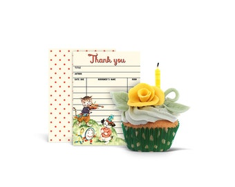 Library card / printable thank you card / nursery rhyme / storybook theme thank you card / instant download