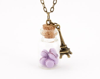 Gift for daughter, macaron necklace, vial necklace, gift for girlfriend, foodie gift, statement necklace, food necklace, miniature food
