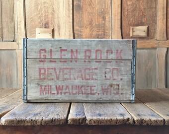 Vintage Wood Crate, Glen Rock Beverage Co Wooden Crate, Milwaukee Wisconsin Wood Soda Crate, Vinyl Record Storage