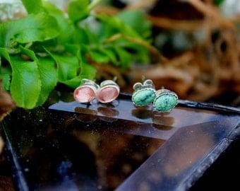 Tiny Stud Earrings//Damele Turquoise//Oregon Schiller Grade Sunstone //Sterling Silver//Everyday Wear