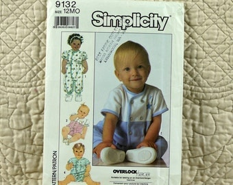 Baby Rompers, Infant, Simplicity 9132 Pattern, Knit, Snaps, Double Breasted, Short Sleeves, 1989 Uncut, 12 months
