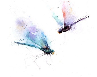 DRAGONFLY ART PRINT - dragonfly watercolor, dragonfly lover, dragonfly gift, dragonfly print, insect art, insect lover gift, insect painting