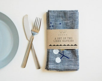 "Linen table napkins | light navy | gray-ish blue | golden berry print | 16"" x 16"" 