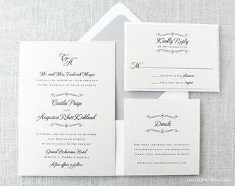 Monogrammed Wedding Invitations, Formal Wedding Invitations, Classic Wedding Invitations, Romantic Script Wedding Invitation