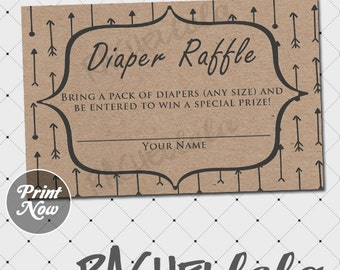 Kraft Arrow Diaper Raffle ticket insert, baby shower game, boho, tribal, gender neutral, boy, printable template, instant digital download