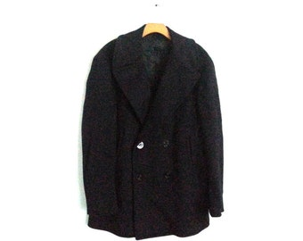 Vintage Navy Peacoat Wool Large
