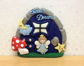 Indoor Fairy Door, Fairy Decoration, Tooth Fairy Door, Boys Pixie Door - Sweet Dreams