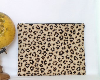 Large Clutch / Oversized Clutch Bag / Fold over Clutch Bag /  Clutch Bag / Clutch Purse  / Handbag / Purse/ Lepaord Print