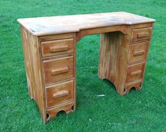 Vintage Wood Desk, Paint to Order, Custom Painted Writing Desk, Double Pedestal, Office Desk, Student Desk, Shabby Chic, Kneehole Desk