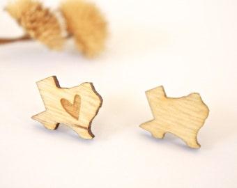 Texas Stud Earrings, Wooden Laser Cut Texas Earrings, Wooden Earrings, Texas Earrings, Wooden Texas Earrings