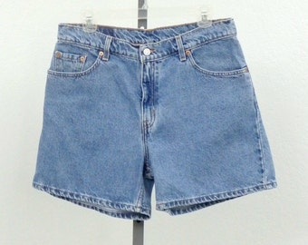 "Vintage 90s Levis High Waisted Denim Shorts, Blue Jean Shorts, High Rise Shorts, High Waist Shorts, 33"" Waist"