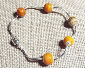 Silver Bracelet Orange Glass Bead Count Your Blessings #385